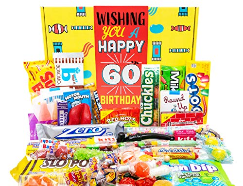 Woodstock Candy Retro Gift Box for 60th Birthday   Fun Assortment of Nostalgic Candies Celebrating Sixtieth Birthday   Basket Great For Gag or Prank Ideas   Men, Women, Husband, Wife, Gifts Ideas