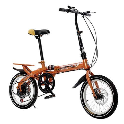 TYXTYX Plegable de Bicicletas de 16 Pulgadas Amortiguador portátil Boy Adultos y Chica de la Bicicleta de la Bicicleta Infantil,6 velocidades, Adultos Unisex,Talla Unica