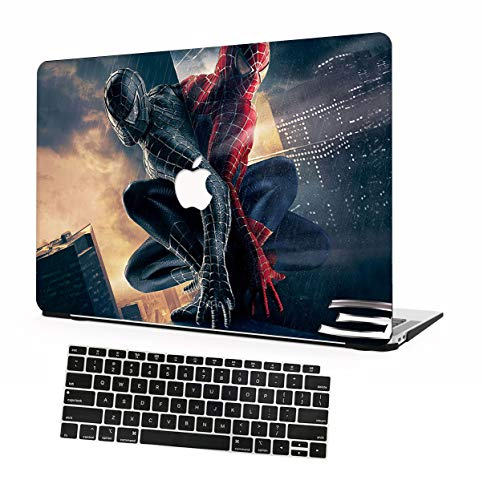 AOMO MacBook Air 13 Inch Case 2020/2019/2018 Release A2179 A1932,Ultra-Thin Plastic Hard Shell Case with Keyboard Cover for New MacBook Air 13 Inch with Retina and Touch ID - Spiderman 3