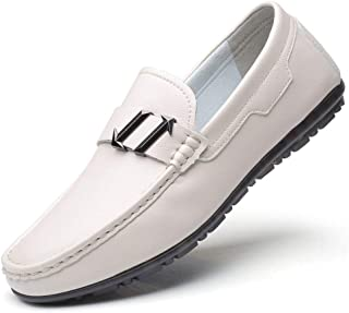 HUAHs0 Casual Loafers for Men Penny Shoes Slip on Rubber Sole Microfiber Leather Round Toe Metal Decor Stitching Non-slip Soft` (Color : White, Size : 39 EU)