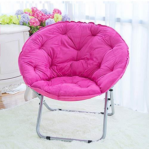 Übergroße Untertasse ChairFolding Chair Metallrahmen Recliner Home Lazy Couch Sonnenliege Balkon Freizeit Stuhl Moon Chair (pink/Lila/Rot/Braun) (Color : Pink)