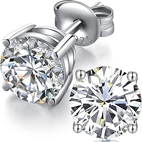 Pendientes Hombre,Pendientes Diamante,Pendientes Hombre Plata,Pendientes Circonita Plata De Ley 925,Pendientes Diamante Mujer Hombre Brillantes,Pendientes Zirconita Plata Oro Blanco 7mm