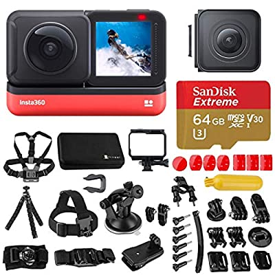 Insta360 ONE R Twin Edition Dual Lens 360 + 4K Wide-Angle Mods, Waterproof Sports and Action Camera Bundle with Froggi Extreme Sport Accessory Set, 64GB microSD Card from Insta360