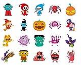QueenDer Tatuajes Temporales, Pequeño Tatuajes Infantiles Halloween Dia del Diablo Calabaza divertida Bruja Elfos Tatuaje Impermeable Extraíble para Niños Niñas - 20 Hojas