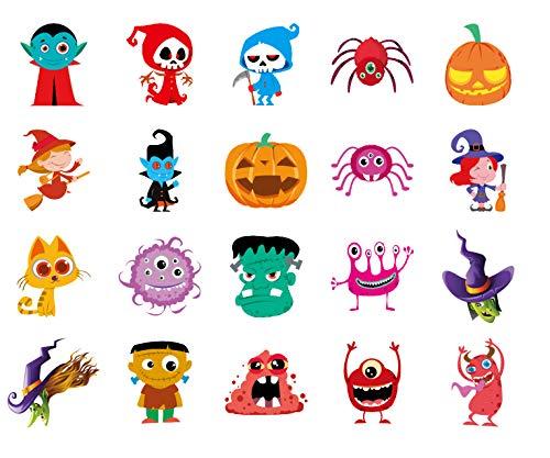 QueenDer Tatuaggi Temporanei, Temporaneo Tattoo Impermeabile Rimovibile Personaggio dei Cartoni Aanimati Halloween Adesivi Body Art per Bambini Adulti Uomo Donne(20 Fogli)