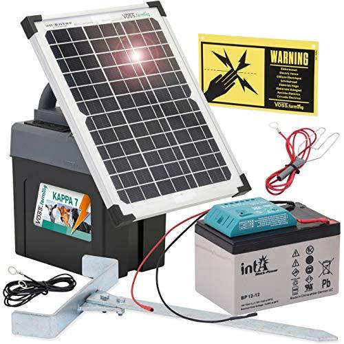 VOSS.farming 12 Watt Power Solar Duo Weidezaungerät – 12V, 9V Solar und extra 9V Batterie, Elektrozaun, Weidezaun, Stromzaun, Pferdezaun