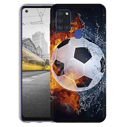 KX-Mobile Hülle für Samsung A21s Handyhülle Motiv 1152 Fußball Fussball Weiß Schwarz Orange Premium Silikonhülle SchutzHülle Softcase HandyCover Handyhülle für Samsung Galaxy A21s Hülle