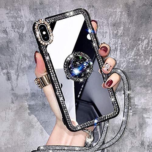 AAA&LIU Funda para teléfono para iPhone 11 12 Pro MAX para iPhone 7 8 Plus 6 6S X XR XS MAX SE Clear Mirror DIY Glossy Diamond Glitter Cover Shell, E, para iPhone XS MAX