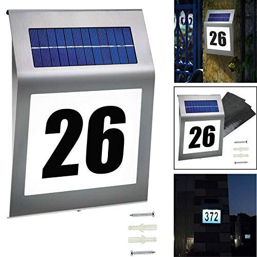 Aufun LED Beleuchtete Hausnummer mit 2 LED Solarhausnummer Edelstahl Solar Hausnummernleuchte LED Beleuchtete Hausnumme LED Wandleuchte