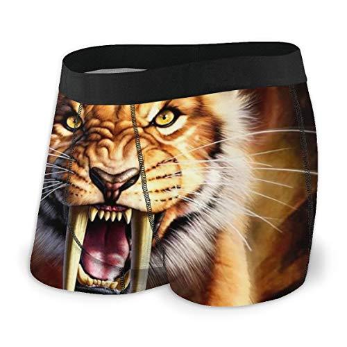 Herren Boxershorts 3D Tigerkopf Wildlife Animal Atmungsaktiv Weich Sexy Unterwäsche für Männer Jungen Gr. XXL, Schwarz