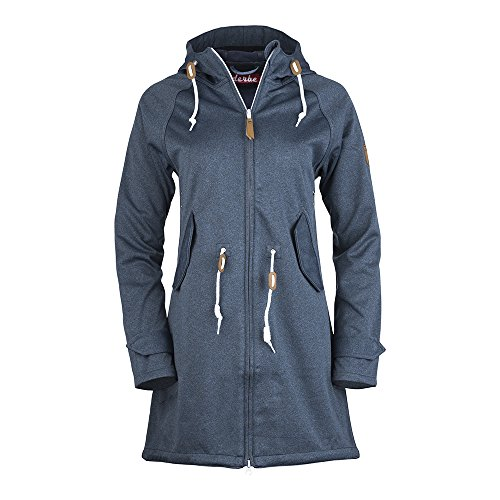 Derbe Damen Jacke Island Friese Softshell, Denim/Navy, Gr. 46
