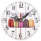 Yosoo Reloj de pared redondo de madera, reloj de pared vintage, decoración de cocina, reloj digital de estilo europeo