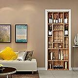 KGLGCY Etiqueta Pared Puerta 3D Armario para vinos Interior Mural Póster Arte Papel Tapiz Autoadhesivo Calcomanías De Puerta Extraíbles Vinilo Decoración De Oficina 77X200cm
