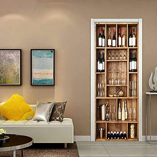 WZKED 3D Puerta Pegatina Pared Vinoteca Creativa para Bar Calcomanía De Vinilo Extraíble DIY Autoadhesiva Etiqueta De Puerta Murales para Cocina Sala De Baño Decorativos 77X200Cm