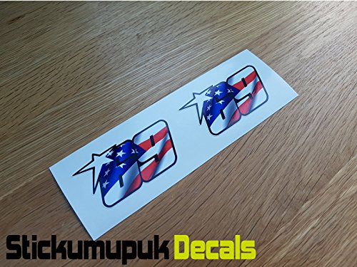 2 pegatinas USA Nicky Hayden Superbike MotoGP Moto GP 69 para casco/pantalla de tamaño pequeño 60 mm – Color Impreso vinilo adhesivo para coche/sin calcomanía P+P
