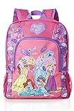 Disney Princess Backpack Featuring Princess Belle, Sleeping Beauty, Cinderella, Rapunzel, Jasmine, Ariel, Kids Disney Bag For School Or Travel, Pink And Purple Girls Rucksack, Birthday Gift Idea Girls