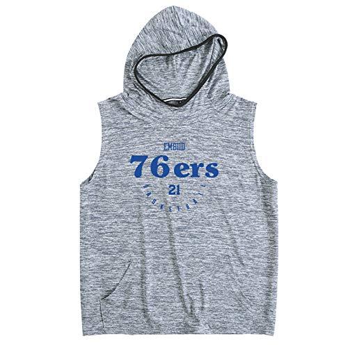 BHZY 76ers Embiid 21# - Sudadera con capucha para hombre con capucha, absorbe la humedad, transpirable y de secado rápido, sin mangas, uniforme de entrenamiento de baloncesto, S-2XL gris oscuro-XL