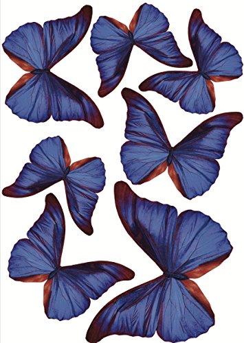 Plage 3D Charming Butterfly Stickers Deep Blue [7 Butterflies Between 8 x 6,5 cm and 14 x 11 cm], Plastik, 14 x 0.1 x 11 cm, 7-Einheiten