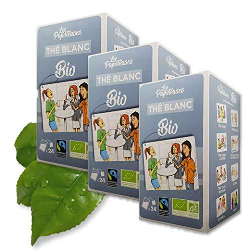 Les Papoteuses | Tè bianco dalla Cina biologico | certificato biologico e commercio equo e solidale | Tè biologico 24 bustine | Set di 3 confezioni