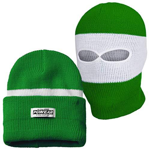 PGwear Mütze und Sturmhaube 2 in 1 schwarz weiß rot blau gelb grün (Grün/Weiß)