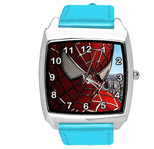Taport® Quarzuhr blau Lederband rund für Spiderman Fans E1