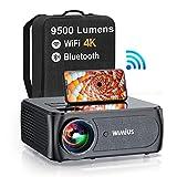 Vidéoprojecteur 5G WiFi Bluetooth, 9500 Lumens Full HD 1080P WiMiUS Projecteur 4K Supporté WiFi Bluetooth Correction 4P/4D RétroProjecteur WiFi Home Cinéma pour iOS,Android,PS5,TV Stick HDMI AV USB