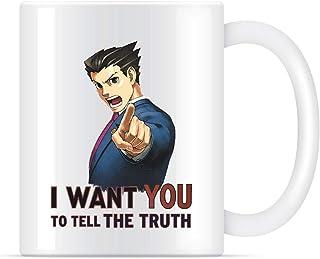 Phoenix Wright Wants You to Tell The Truth (transparente) taza de café para mujeres y hombres tazas de té, 311,84 g