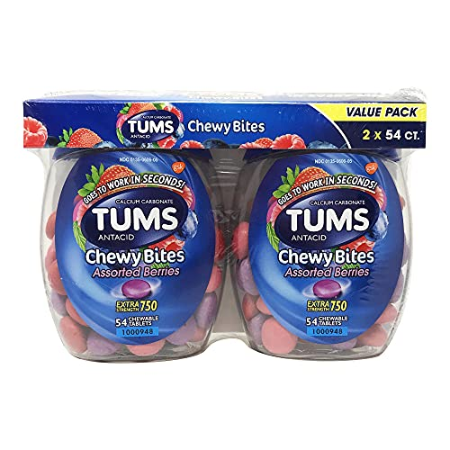 TUMS Chewy Bites Extra Strength Antacid Tablets for Chewable Heartburn Relief and Acid Indigestion Relief, Mixed Fruit, Blue,Mixed Fruit, 54 Count, Pack of 2