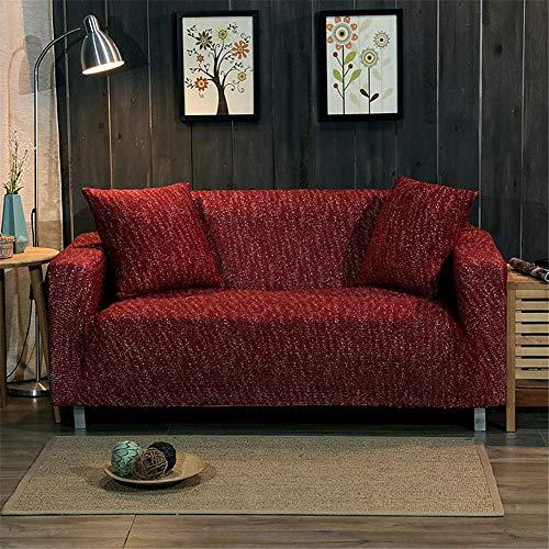 Fansu Elastischer Sofabezug Einfarbig, Stretch Dicker Strickstoff Sesselbezug Antirutsch Stretchhusse Weich Stoff Sofabezug Möbelschutz (2 Sitzer 145-180cm,Rotwein)