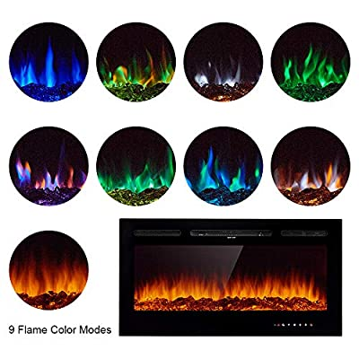 """Papajet 40"""" Wall Mounted Fireplace Heater Recessed Electric Fireplace Realistic 9 LED & 5 Brightness Flame Settings, Log Set & Crystal 1500/750W Heater with Remote Control"""