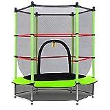 Costway Trampoline Enfant Ø 140 cm avec Filet de Protection Trampoline Fitness Rond pour Exterieur Charge Max 50KG (Vert)