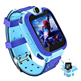 """kids Smart Watch for Girls Boys with 1GB SD Card,Phone Call Games Music Camera Alarm Recorder SOS,1.54""""Color Touch Screen Smartwatch for 3-13 Years Children Birthday Gift (Blue)"""