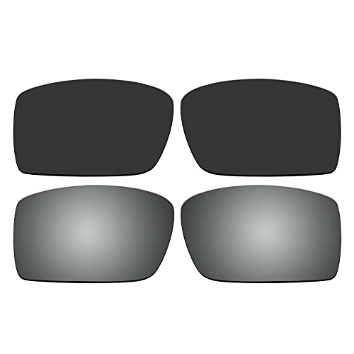 c231bf7814 ACOMPATIBLE Replacement Polarized Black and Titanium Lenses for Oakley  Gascan Sunglasses