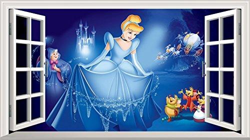 Chicbanners Aschenputtel 3D V002 Magic Window Wall Sticker Selbstklebendes Poster Größe 1000 mm breit x 600 mm tief (groß)
