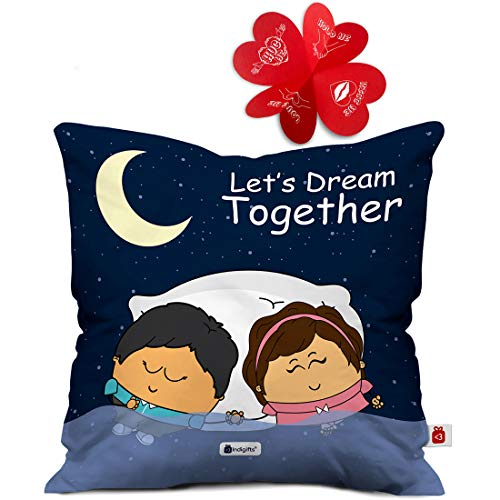 Indigifts 12X12-inch Satin Dark Blue Couple Cushion Cover with Filler