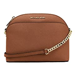 Compact cross-body in saffiano finished leather with polished golden tone hardware Lined interior with zippered pocket, an open slip pocket and a fully zippered top closure Front slip pocket with iconic logo lettering and a flattened bottom panel Cha...