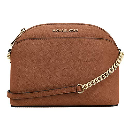 Michael Kors Emmy Saffiano Leather Medium Crossbody Bag (Luggage Saffiano)