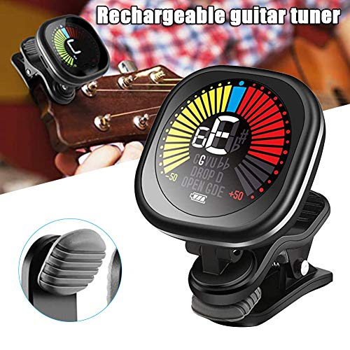 FinWell Guitar Tuner Rechargeable Clips On Tuner for Violin Ukulele Chromatic Tuning Fast And Accurate Easy to Use Built-in Pickup