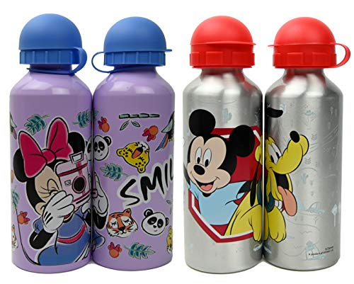 ML Lot de 2 bouteilles d'eau en aluminium Disney Mickey et Minnie, bouteille isotherme à épreuve de fuites sans BPA pour soulever l'école et les sports le thermos 500 ml pour garçons et filles (Lila)