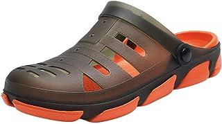 Mens Mules Slipper Hole Sandals Patchwork Beach Clogs Open Back Anti-Slip Sliders Slip-On Swimming Sandals Summer Men Soft...