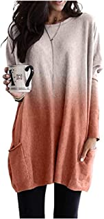 neveraway Women's Ombre Baggy Pullover Long-Sleeve Blouse Shirt with Pockets