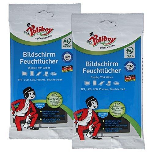 Poliboy - Bildschirm Feuchttücher - ideal für Fernseher, Laptops, Tabletts und andere Displays - 2er Pack - 2x30 Stück - Made in Germany