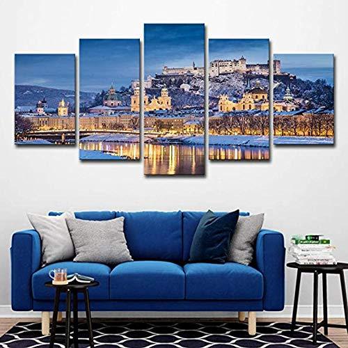 Stampa su Tela 5 Pezzi Wall Art Pittura Moderna Immagine Soggiorno Camera da Letto Divano TV Sfondo Palestra Decorazione Domestica XXL Salisburgo Austria-Landscape