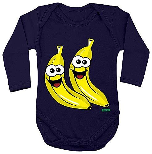 HARIZ Baby Body Langarm Bananen Lachend Früchte Bunt Plus Geschenkkarte Matrosen Dunkel Blau 50-56