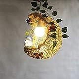 Chandelier Luces Pendientes, Rattan Luna Birdcage Araña, Dormitorio Restaurante Estudio de la Habitación Infantil de Techo Luz Creativa Personalidad Viviente Luz de la Habitación,a