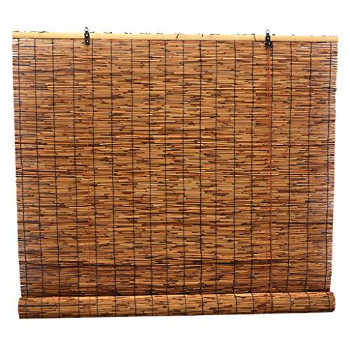 PNAYK Cortina Enrollable Bambú con Lifter, Natural Ambientalmente Materiales Decoración Vintage Cortina de Paja para Exterior Interior Filtrado de Luz,90×120cm (36×47 in)
