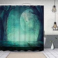 シャワーカーテン不気味なティールの森の月と無駄な枝神秘的な幽霊の出るホラー素朴な画像プリント 防水 目隠し 速乾 高級 ポリエステル生地 遮像 浴室 バスカーテン お風呂カーテン 間仕切りリング付のシャワーカーテン 180 x 180cm