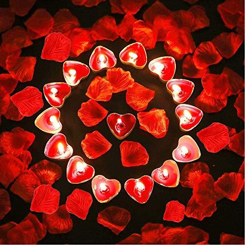 Vela de Corazón Romántico, 9 Piezas Vela de Amor Romántico, Velas Románticas de Corazón de Amor, con 100 Piezas Pétalos Flores Artificiales, para Decoración Cena Fiesta Cumpleaños Boda Del