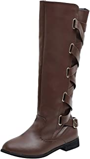 👏 Happylove 👏 Knee High Boots for Women Wide Calf,Low Heel Boots Zipper Closure with Buckle Fashion Retro Riding Boots