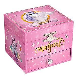 SONGMICS Musical Jewelry Box, 4.7″L x 4.3″W x 3.9″H, Pink